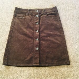 Kut from the Kloth Brown Corduroy Skirt